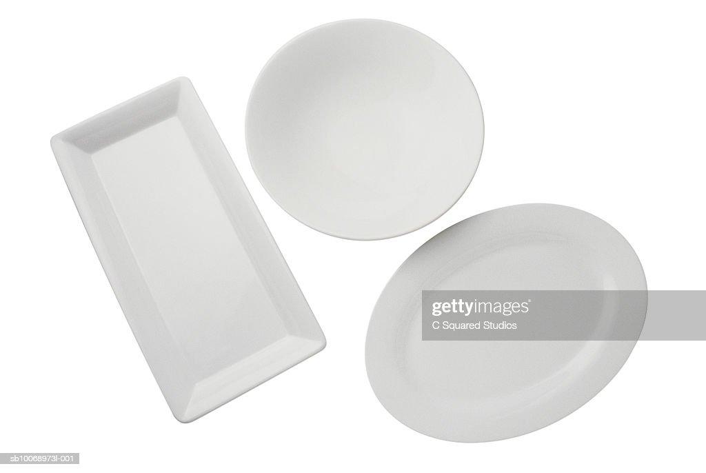 Three platters on white background