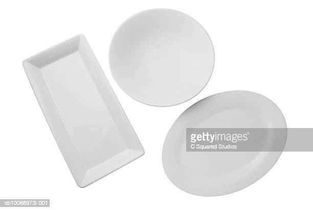Three platters on white background