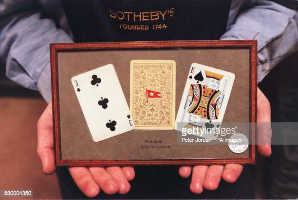 Three playing cards with the distinctive White Star Line logo which were taken from the Titanic by a first class passenger as he escaped from the...