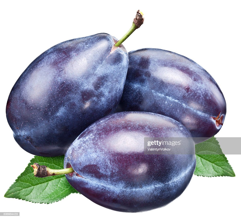 Three plums with leaf. : Stock Photo