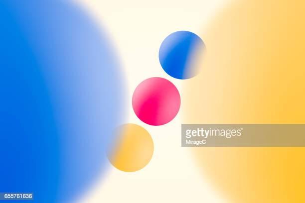 Three Primary Colors Balls Perspective