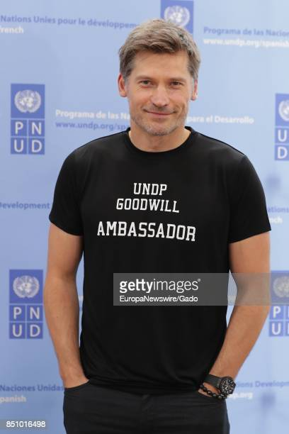 Three quarter length portrait of Game of Thrones Star Nikolaj CosterWaldau during the SDGs Global Goals World Cup at Brooklyn EXPO Center in New York...