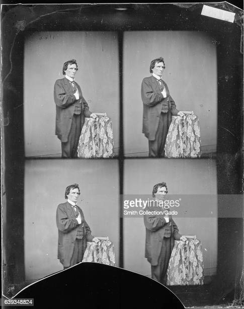 Three quarter length standing portrait of Pennsylvania politician Thaddeus Stevens leaning against a table 1863 Image courtesy National Archives