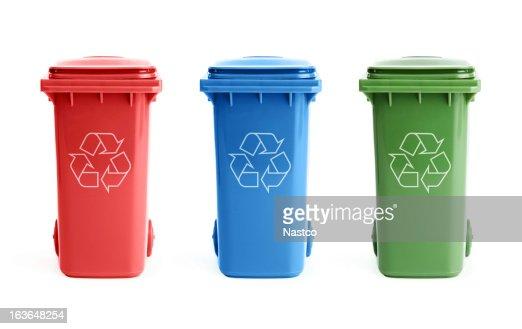 Three recycle bins : Stock Photo
