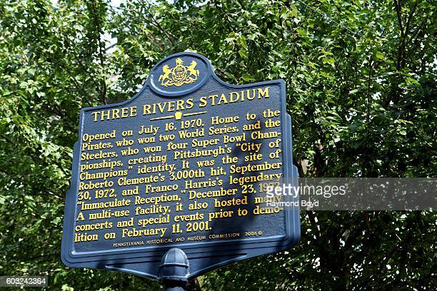 'Three Rivers Stadium' historical marker outside Heinz Field home of the Pittsburgh Steelers and Pittsburgh Panthers football teams in Pittsburgh...