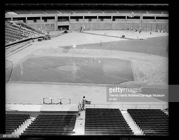 Three Rivers Stadium with baseball diamond under construction Pittsburgh Pennsylvania 19691970