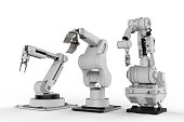 3d rendering three robotic arms on white background