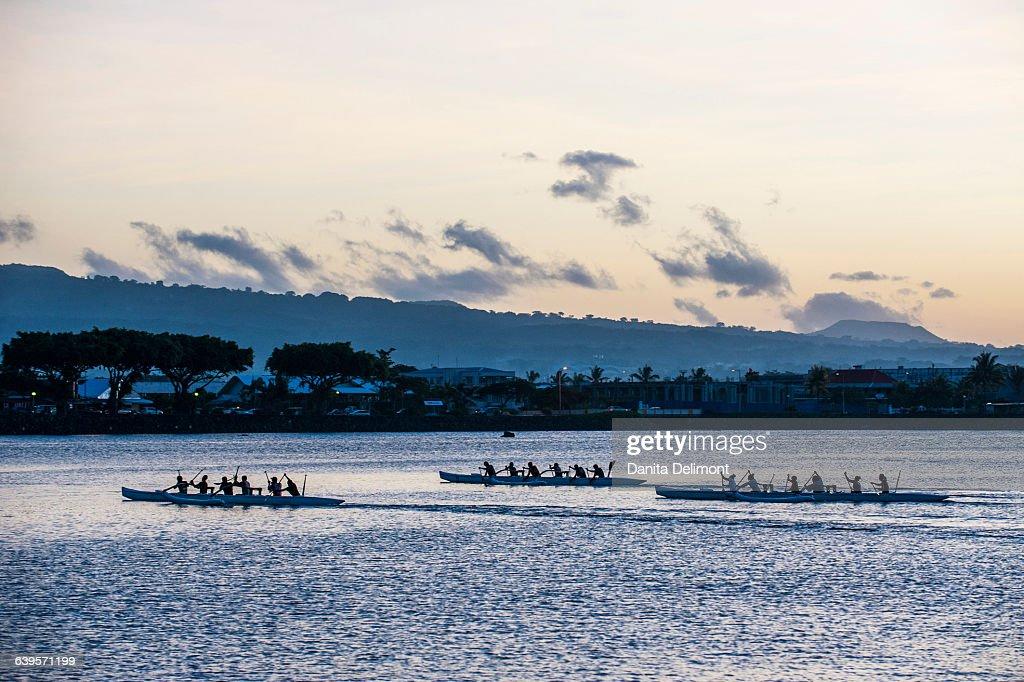 Three rowing boats in bay, Apia, Upolu, Samoa