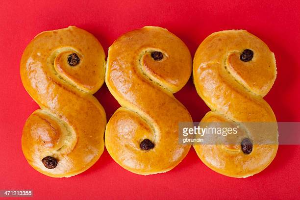 Three S shaped loaves of Swedish Lucia bread