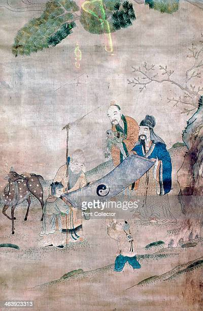 Three sages of T'ai Chi Chinese 17th or 18th century The three sages are depicted surrounded by symbols of long life and immortality In the centre is...