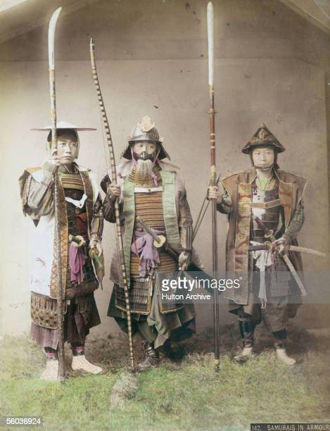 Three samurai warriors in armour circa 1880