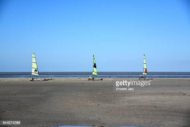 Three sand yachts