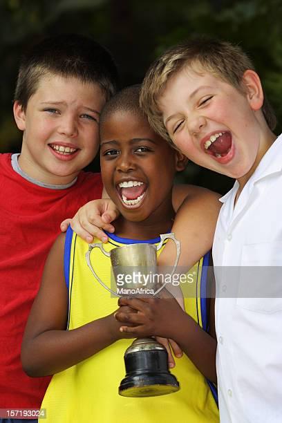 Three Schoolboys Celebrating