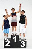 Three Schoolboys on Winners Podium