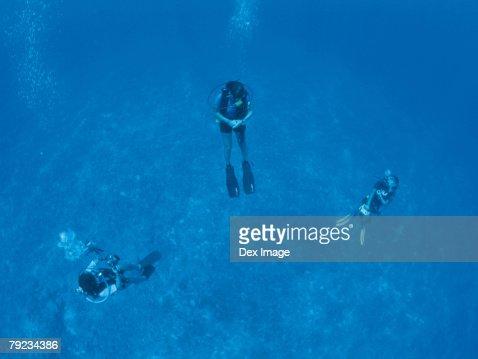 Three scuba divers underwater, underwater view : Stock Photo