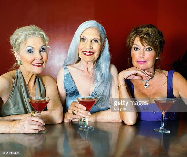 Three Senior Women Having Cocktails