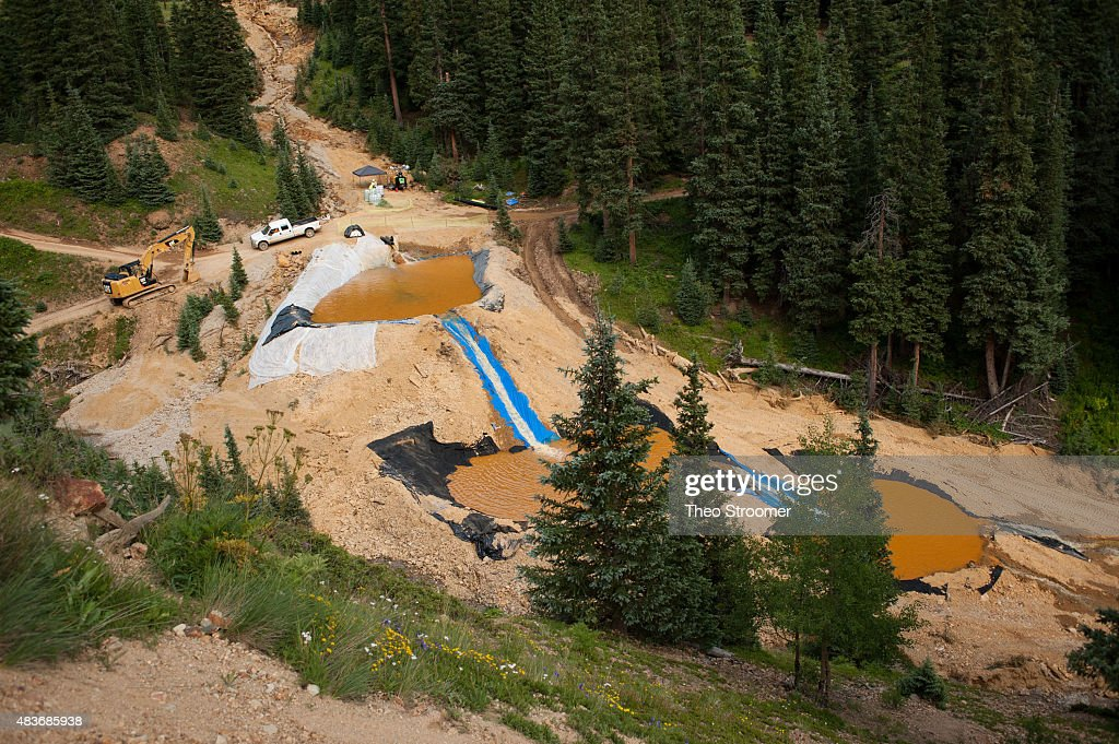 Three settling ponds are used at Cement Creek which was flooded with millions of gallons of mining wastewater on August 11 2015 in Silverton Colorado...