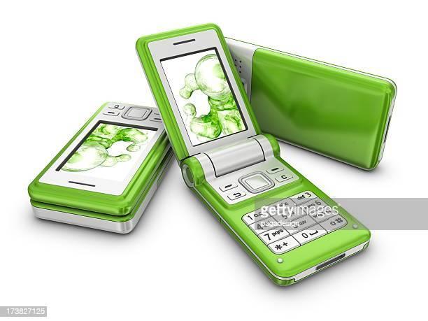 3 本のシルバーグリーンの携帯電話