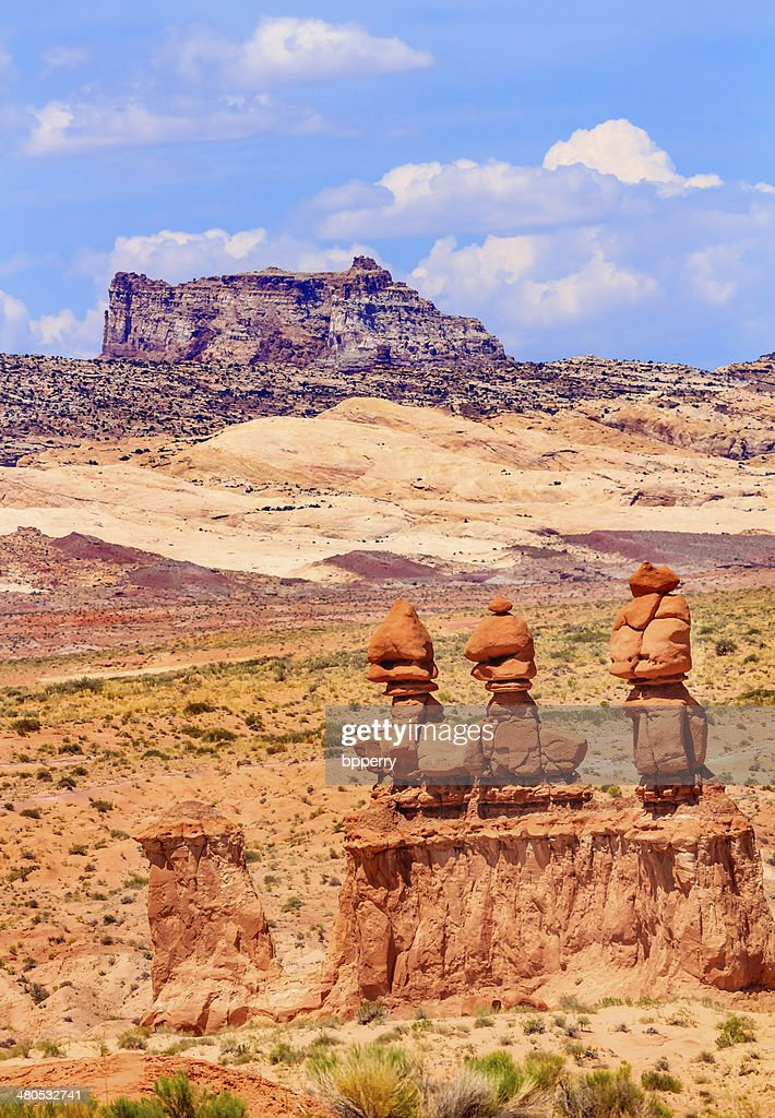 Three Sisters Hoodoos Goblin Valley State Park City, Utah : Stock-Foto