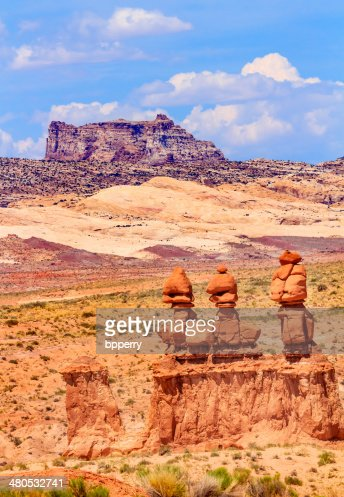 Three Sisters Hoodoos Goblin Valley State Park Utah : Stockfoto