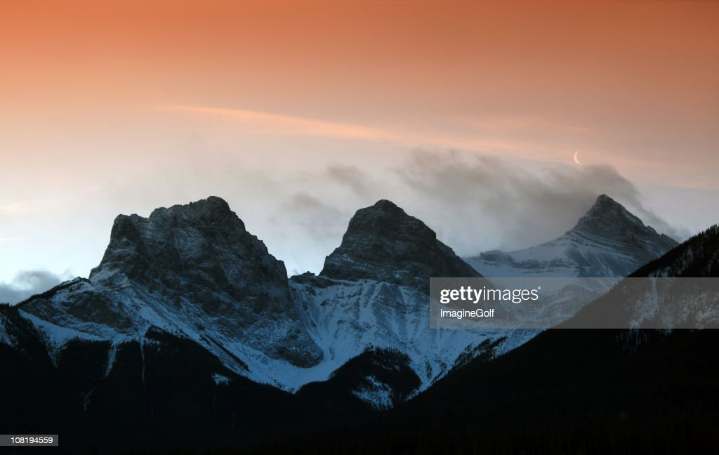 Three Sisters Mountains in Canmore : Stock Photo