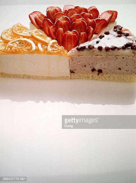 Three slices of different quark cheesecakes