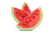 Three slices of fresh watermelon isolated on white background. An isolated object.