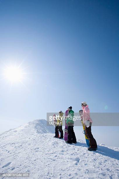 Three snowboarders on slope