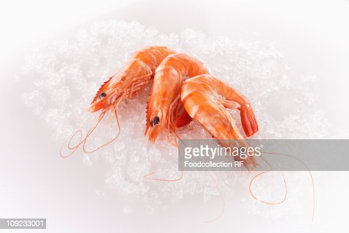 Three steamed prawns on ice