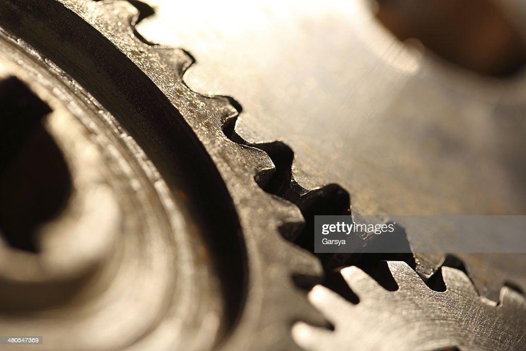 Drei steel cogwheels in Verbindung : Stock-Foto