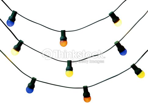 three strands of christmas lights stock photo
