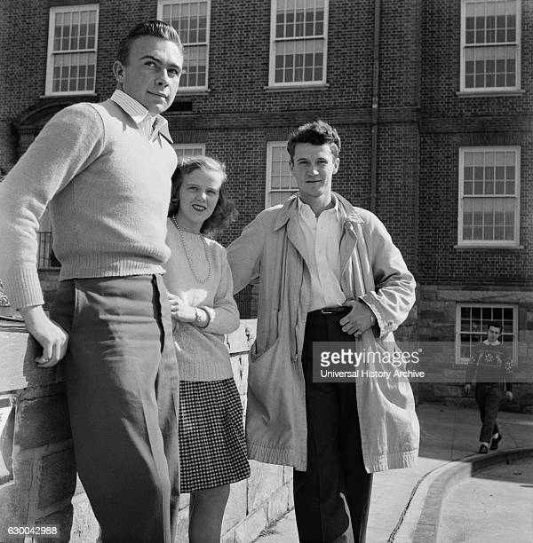 Three Students Standing outside High School Washington DC USA Esther Bubley for Office of War Information October 1943