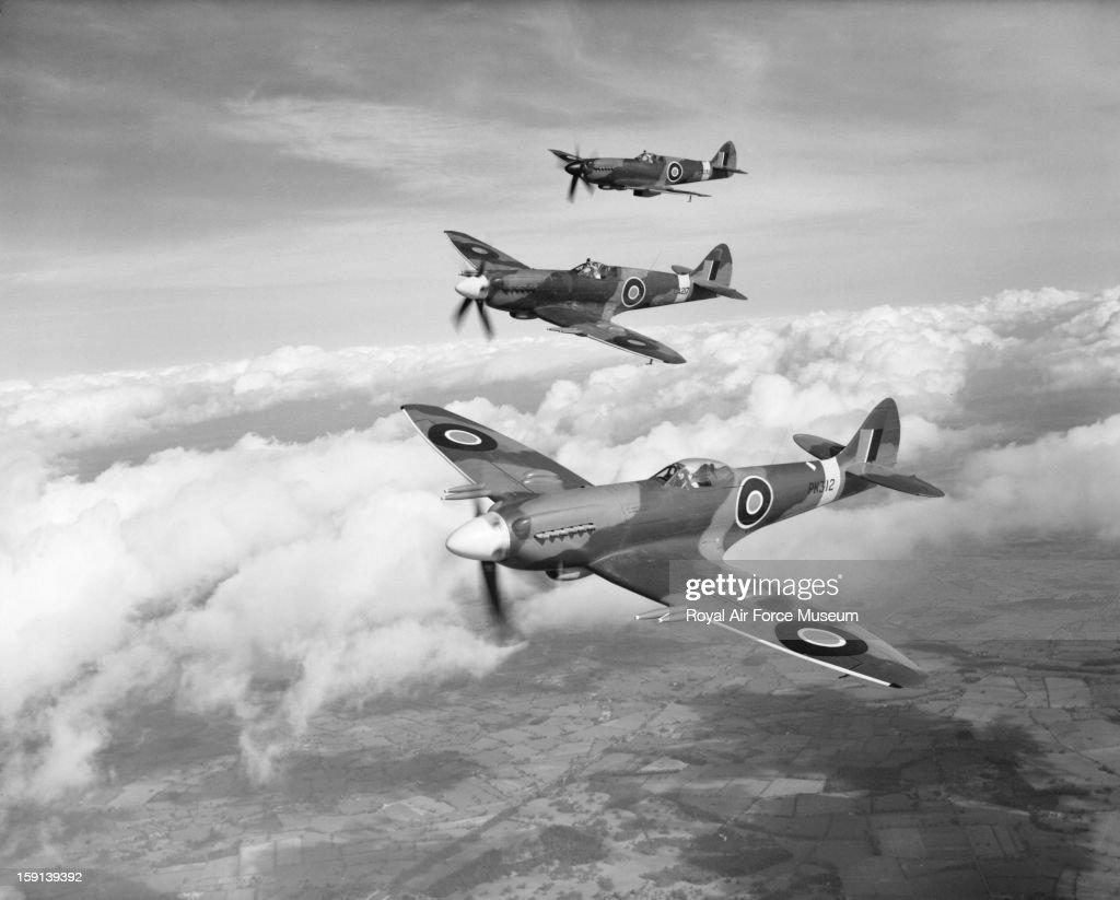 Three Supermarine Spitfire F22 aircraft, Castle Bromwich, March 1945.