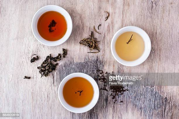 Three tea bowls of white, oolong and black tea