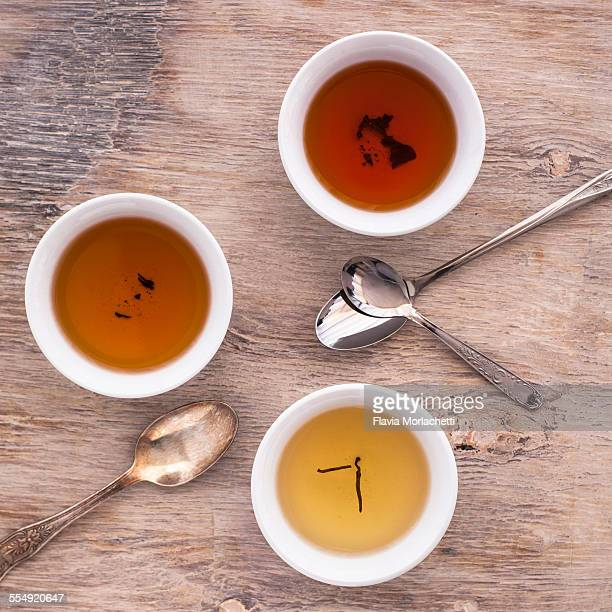 Three tea cups of white, oolong and black tea