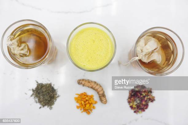 TORONTO ON FEBRUARY 7 Three teas a mint tea with a turmeric smoothie and a sleepy time tea Ingredients for blending your own tea include lavender...