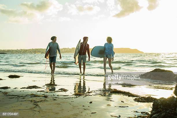 Three teenagers with surfboards walking on the beach at evening twilight