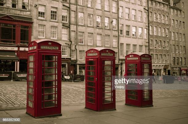 Three telephones on the Royal Mile, Old Town, Edinburgh