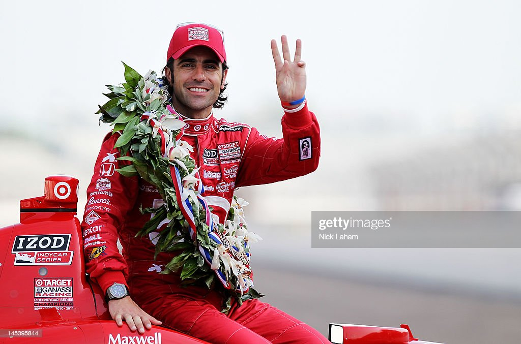 Three time Indy 500 winner, <a gi-track='captionPersonalityLinkClicked' href=/galleries/search?phrase=Dario+Franchitti&family=editorial&specificpeople=171306 ng-click='$event.stopPropagation()'>Dario Franchitti</a> of Scotland, driver of the #50 Target Chip Ganassi Racing Honda, poses on the yard of bricks during the Indianapolis 500 Mile Race Trophy Presentation at Indianapolis Motor Speedway on May 28, 2012 in Indianapolis, Indiana.