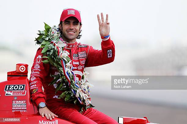 Three time Indy 500 winner Dario Franchitti of Scotland driver of the Target Chip Ganassi Racing Honda poses on the yard of bricks during the...