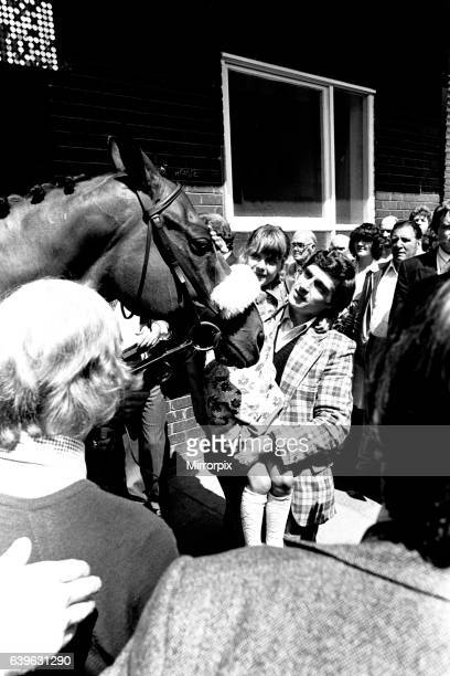 Three times Grand National winner Red Rum arrives for opening the Rum Runner nightclub in Queen Street South Shields 10th July 1981