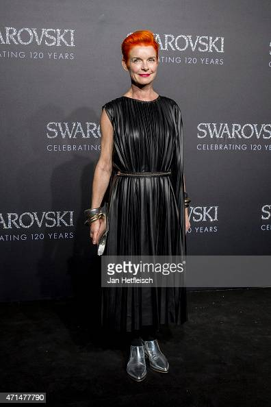 Three times Oscarwinner Sandy Powell poses for a picture on the 'black' carpet of the grand reopening of the Swarovski Crystal Worlds on April 28...