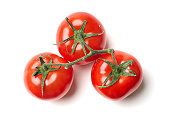 Three tomatoes on vine, against white background.  Click this link to see MY VEGETABLE IMAGES.