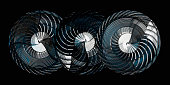 Digitally generated image of three turbines under different angles of rotation, isolated on black background. Contemporary 3D illustration on subject of energy /  power generation / power engineering.