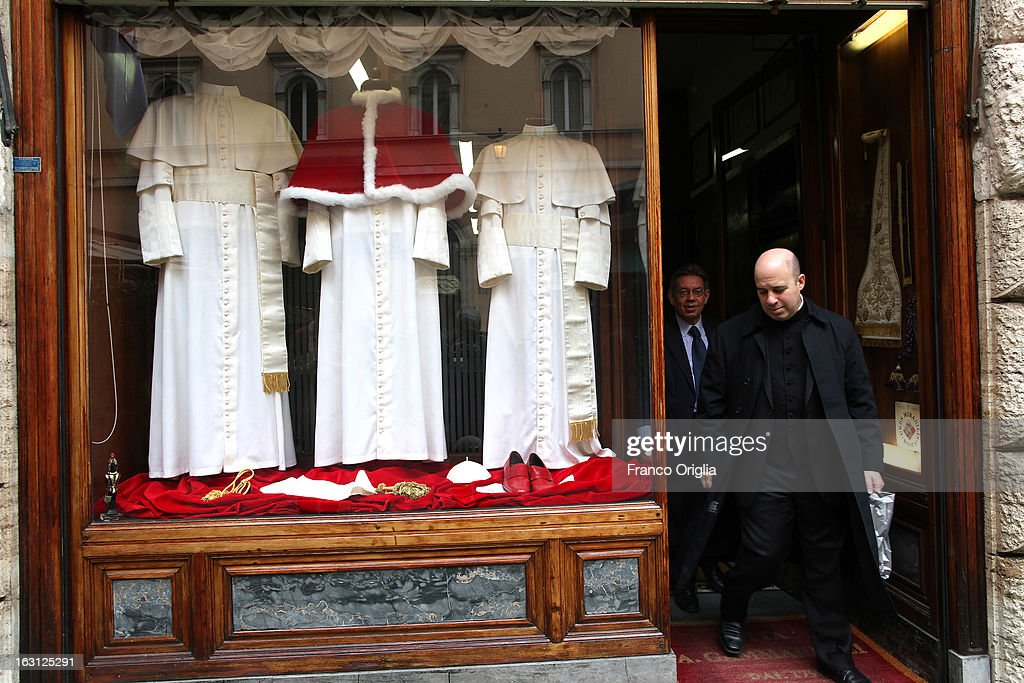 Three types of garments for the next Pope are displayed at the Gammarelli Atelier on March 5 2013 in Rome Italy The Gammarelli Family produced...