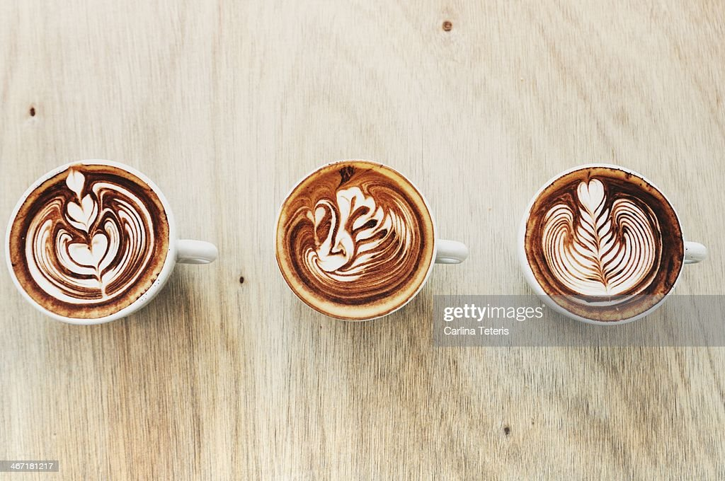 Three types of latte art : Stock Photo