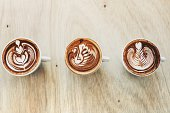 Three types of latte art