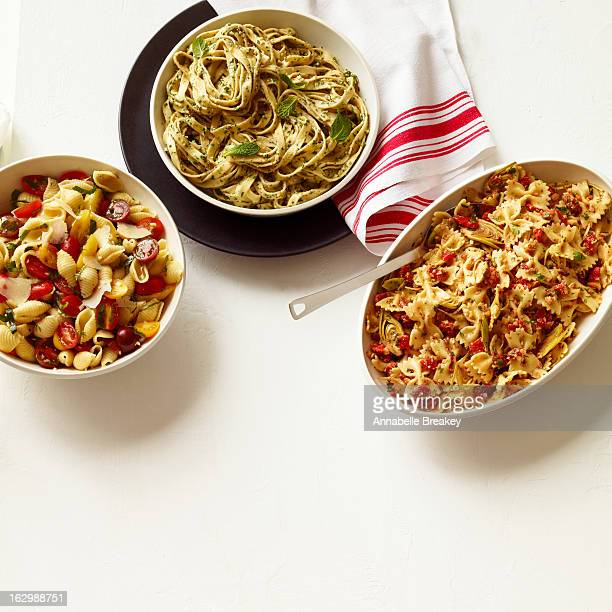 Three types of Pasta in Serving Bowls