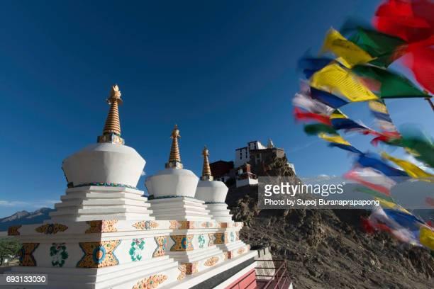 Three white stupas at Thikse Monastery in Leh,Ladakh, India.