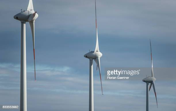 Three wind power stations are pictured on August 12 2017 in Oberseifersdorf Germany